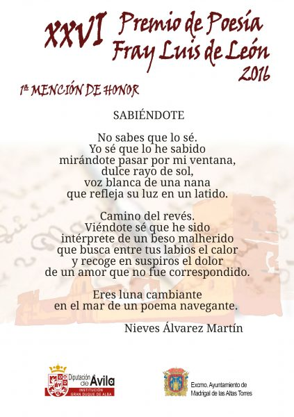 1a Mención de Honor - XXVI Premios de Poesía Fray Luis de León