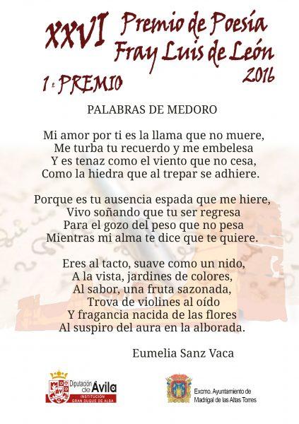 1er Premio - XXVI Premios de Poesía Fray Luis de León
