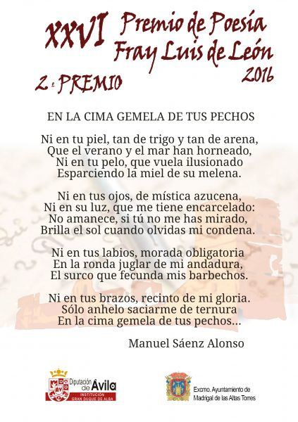 2o Premio - XXVI Premios de Poesía Fray Luis de León