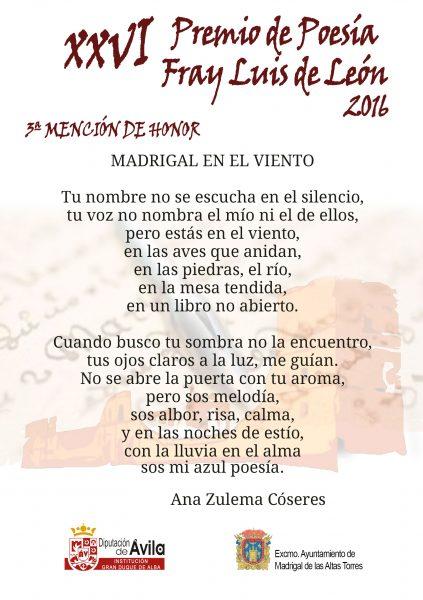 3a Mención de Honor - XXVI Premios de Poesía Fray Luis de León