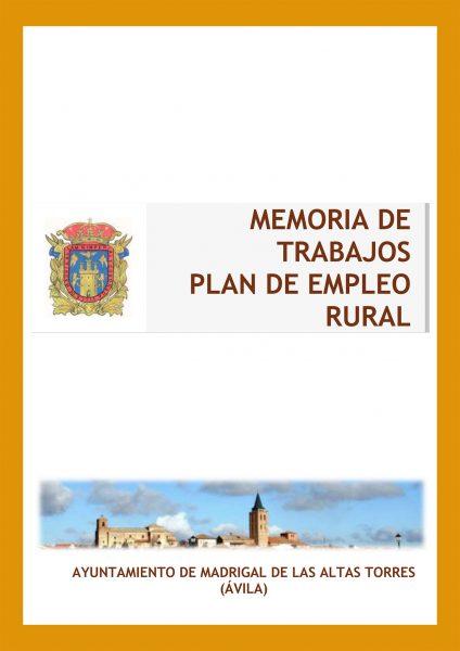 MEMORIA DE TRABAJOS         PLAN DE EMPLEO RURAL