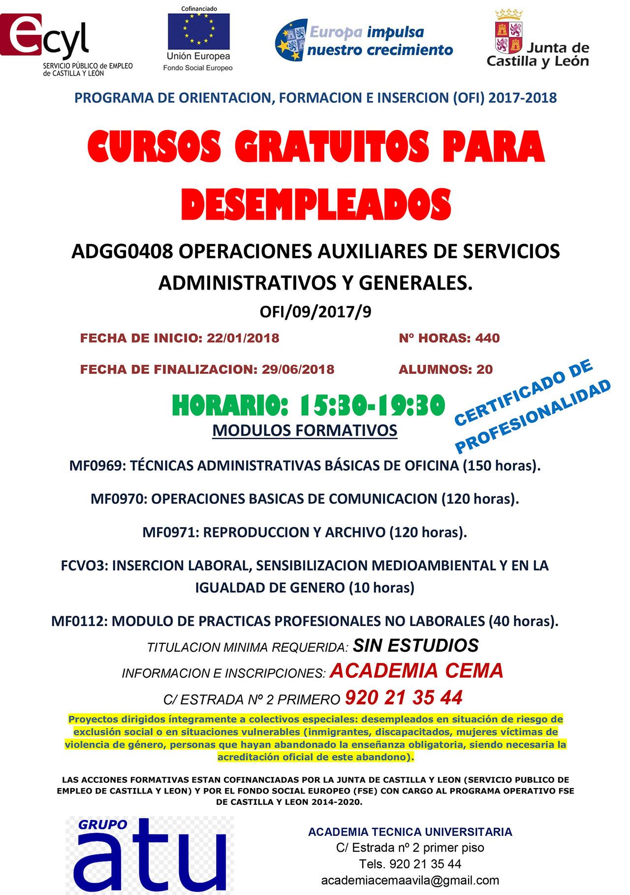 Cursos Gratuitos Para Desempleados Ayuntamiento De Madrigal De Las Altas Torres